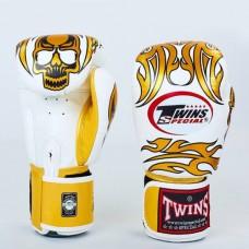 Боксерские перчатки кожаные на липучке TWINS FBGV-31G-WH