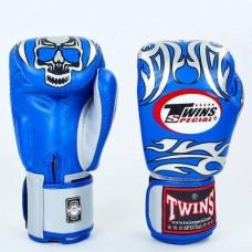 Боксерские перчатки кожаные на липучке TWINS FBGV-31S-BU