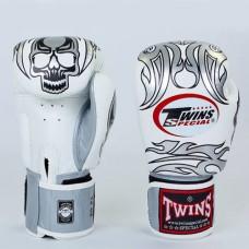 Боксерские перчатки кожаные на липучке TWINS FBGV-31S-WH