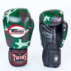 Боксерские перчатки кожаные на липучке  TWINS FBGV-JG