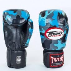 Боксерские перчатки кожаные на липучке  TWINS FBGV-NB