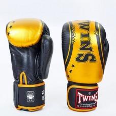 Боксерские перчатки кожаные на липучке  TWINS FBGV-TW4-BKG