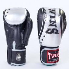 Боксерские перчатки кожаные на липучке  TWINS FBGV-TW4-BKS