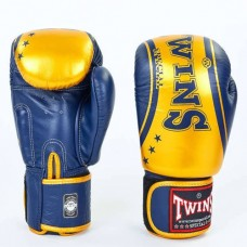 Боксерские перчатки кожаные на липучке  TWINS FBGV-TW4-BUG
