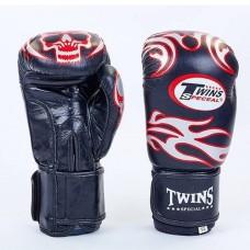 Боксерские перчатки кожаные на липучке  TWINS MA-5436-BK