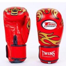 Боксерские перчатки кожаные на липучке  TWINS MA-5436-R