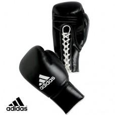 Боксерские перчатки  кожаные на шнуровке ADIDAS PRO