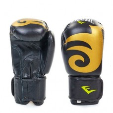 Боксёрские перчатки кожаные на липучке  ELAST BO-3630-BK