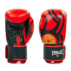 Боксёрские перчатки кожаные на липучке  ELAST BO-6162-BK