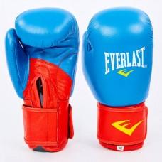 Боксерские перчатки кожаные на липучке ELAST MA-6750-B (р-р 10-12oz, синий-красный)