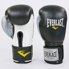 Боксерские перчатки кожаные на липучке ELAST MA-6750-BKS (р-р 10-12oz, черный-серебро)