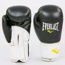 Боксерские перчатки кожаные на липучке ELAST MA-6750-BKW (р-р 10-14oz, черный-белый)