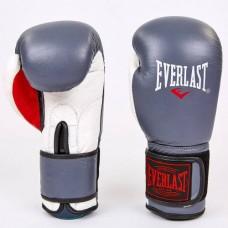 Боксерские перчатки кожаные на липучке ELAST MA-6750-GR (р-р 10-12oz, серый-белый)