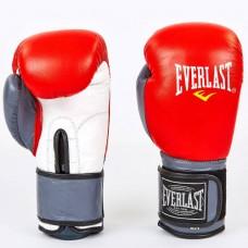 Боксерские перчатки кожаные на липучке ELAST MA-6750-R (р-р 10-12oz, красный-серый)
