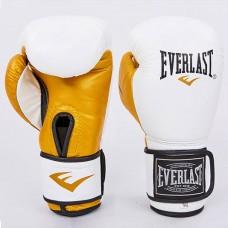 Боксерские перчатки кожаные на липучке ELAST MA-6750-W (р-р 10-12oz, белый-золото).