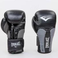 Боксерские перчатки кожаные на липучке ELAST MA-6759-BK (р-р 10-12oz, черный-серебро)