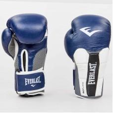 Боксерские перчатки кожаные на липучке ELAST MA-6759-N (р-р 10-12oz, синий-серый)