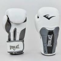 Боксерские перчатки кожаные на липучке ELAST MA-6759-W (р-р 10-12oz, белый-серый)