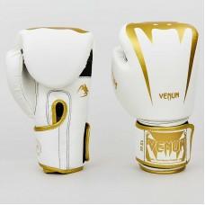 Боксерские перчатки PU на липучке VNM  BO-8349-WG (8,10,12 oz, белый-золотой)