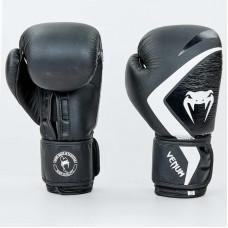 Боксерские  перчатки кожаные  на липучке VNM CONTENDER 2.0 VL-8202-BKW (р-р 10-12oz, черный-белый)