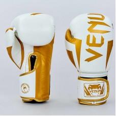Боксерские  перчатки кожаные  на липучке VNM ELITE VL-8291-W (р-р 10-12oz, белый-золотой)