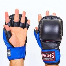 Перчатки  гибридные для единоборств ММА кожаные TWINS GGL-1-BU