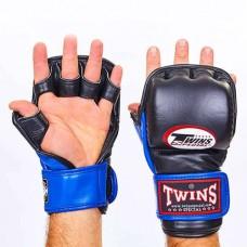 Перчатки  гибридные для единоборств ММА кожаные TWINS GGL-2-BU