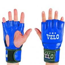 Перчатки  для  смешанных единоборств ММА кожаные  на липучке VELO ULI-4018-B