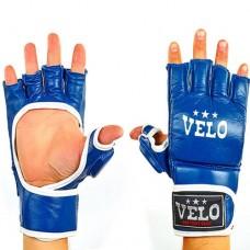 Перчатки  для  смешанных единоборств ММА кожаные  на липучке VELO ULI-4020-B