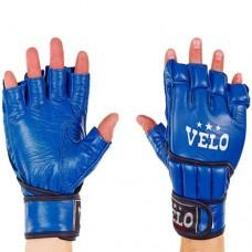 Перчатки  для  смешанных единоборств ММА кожаные  на липучке VELO ULI-4021-B