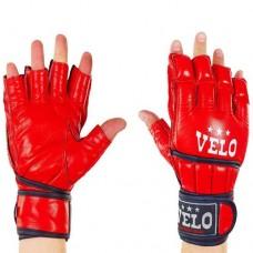 Перчатки  для  смешанных единоборств ММА кожаные  на липучке VELO ULI-4021-R