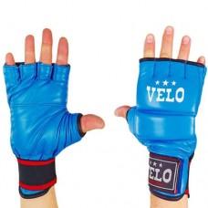 Перчатки  для  смешанных единоборств ММА кожаные  на липучке VELO ULI-4023-B