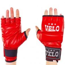Перчатки  для  смешанных единоборств ММА кожаные  на липучке VELO ULI-4023-R