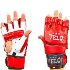 Перчатки  для  смешанных единоборств ММА кожаные  на липучке VELO ULI-4026-R