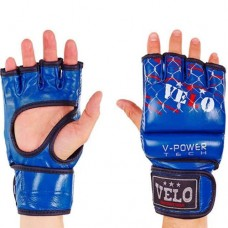 Перчатки  для  смешанных единоборств ММА кожаные  на липучке VELO ULI-4032-B