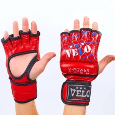 Перчатки  для  смешанных единоборств ММА кожаные  на липучке VELO ULI-4032-R