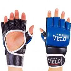 Перчатки  для  смешанных единоборств ММА кожаные  на липучке VELO ULI-4033-B