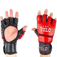 Перчатки  для  смешанных единоборств ММА кожаные  на липучке VELO ULI-4033-R