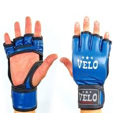 Перчатки  для  смешанных единоборств ММА кожаные  на липучке VELO ULI-4035-B