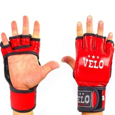 Перчатки  для  смешанных единоборств ММА кожаные  на липучке VELO ULI-4035-R