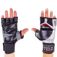 Перчатки  для  смешанных единоборств ММА кожаные  на липучке VELO ULI-4036-BK