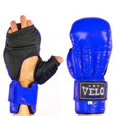 Перчатки  для рукопашного боя  кожаные  на липучке VELO VL-8104-B