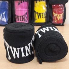Бинты боксерские (2шт) хлопок с эластаном TWINS MA-5466-3(BK) (l-3м, черный)