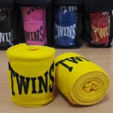 Бинты боксерские (2шт) хлопок с эластаном TWINS MA-5466-3(Y) (l-3м, желтый)