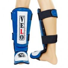 Защита для голени и стопы Муай Тай, ММА, Кикбоксинг кожаная VELO ULI-7020-B (р-р M-XL, синий)