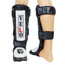 Защита для голени и стопы Муай Тай, ММА, Кикбоксинг кожаная VELO ULI-7020-BK (р-р М-XL, черный)