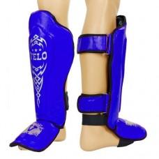 Защита для голени и стопы Муай Тай, ММА, Кикбоксинг кожаная VELO ULI-7023-B (р-р M-XL, синий)