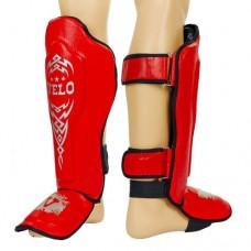 Защита для голени и стопы Муай Тай, ММА, Кикбоксинг кожаная VELO ULI-7023-R (р-р M-XL, красный)