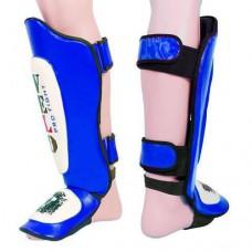 Защита для голени и стопы Муай Тай, ММА, Кикбоксинг кожаная VELO ULI-7021-B (р-р M-XL, синий)