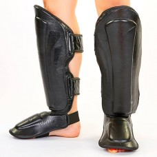 Защита для голени и стопы Муай Тай, ММА, Кикбоксинг VENUM ELITE VL-5749-BK (кожа)